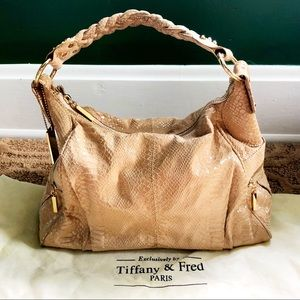 Tiffany & Fred Nude Snake Embossed Hobo Like New